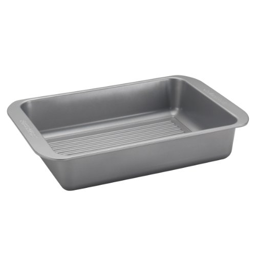 Farberware Nonstick Bakeware 10-Inch x 14-Inch Roaster with Built-In Rack, Gray