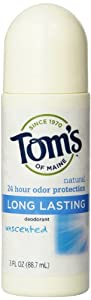 Tom's of Maine Natural Deodorant Roll-On, Unscented, 3-Ounce Roll-Ons (Pack of 6)