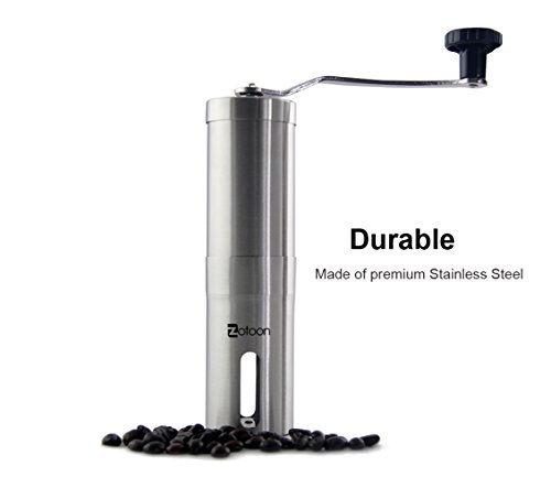 Zotoon Manual Ceramic Burr Coffee Grinder - Best Hand Coffee Bean Mill - Aeropress Compatible