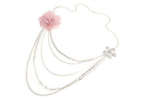 Worn Silver Colour With Dusty Pink Colour Flower Necklet