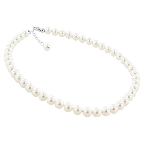 Sterling Silver Imitation White Freshwater Pearl Sterling Silver 16 inch Necklace with Swarovski® Elements Made with Swarovski Elements