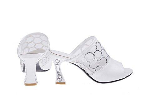 versione estiva coreana dei sandali e ciabatte tacco alto/Moda diamante sandali signora cava-A Lunghezza piede=24.3CM(9.6Inch)