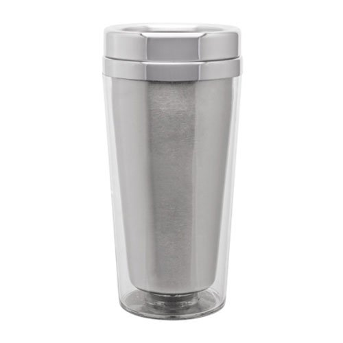 18/8 Stainless Lined Thermal Coffee Tumbler - Double Wall - 16Oz. Capacity - Clear front-484317