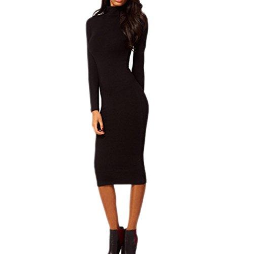 Aokdis Women Sexy Black Hip Stretch Long Sleeve Turtle Neck Midi Pencil Dress (S)