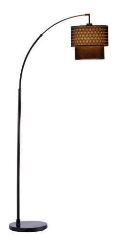 Adesso 3029-01 Gala Arc Lamp with Black Shade