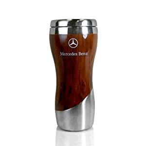 mercedes benz wood grain tumbler coffee mug genuine