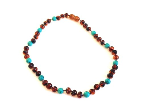 The Art Of Curetm Baltic Amber Baby Teething Necklace - Turquoise Gemstone & Honey Amber W/The Art Of Curetm Jewelry Pouch