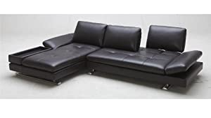 Amazon Com Brown Ritz Leather Sectional Sofa Left