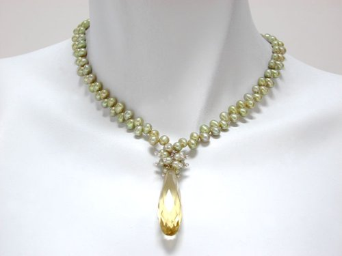 Light Green Freshwater Pearl with Crystal Drop Necklace