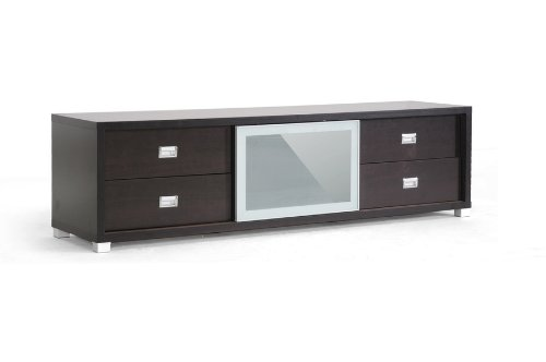 Baxton Studio Botticelli Brown Modern TV Stand with Frosted Glass Door image B009ADUKLC.jpg