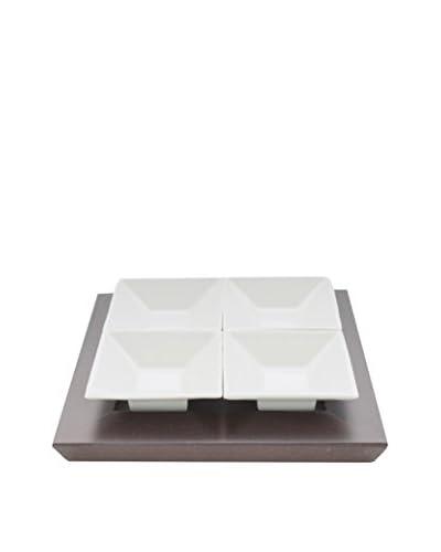 Pordamsa 4-Piece Kyoto Porcelain Appetizer Set with a Wood Base
