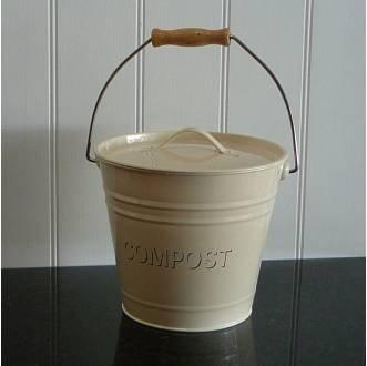 Cream Enamel Compost Tin Shabby Chic Vintage