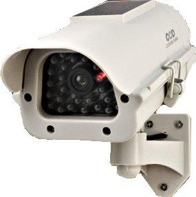 【ダミーカメラ、防犯カメラ、監視カメラ】防雨赤外線ソーラー付ダミーカメラ(ボックス型アイボリー)防犯ダミーカメラ/オンサプライ(OS-162)