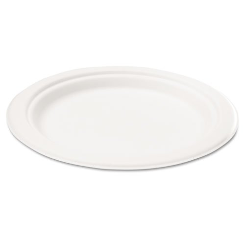 """Naturehouse® - Bagasse 7"""" Plate, Round, White, 125/Pack - Sold As 1 Pack - Compostable Dinnerware Made From Sugarcane Fiber."""