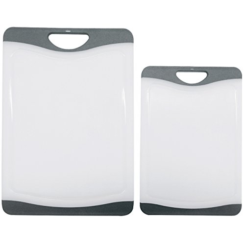Cutting Board Set - 2 Dishwasher Safe Poly Plastic Kitchen Boards - Beats Wood, Glass, Bamboo -Grey (Kitchen Cutting Board Plastic compare prices)