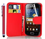 discount. World Flip Wallet Leather Case with Screen Protector and Stylus for Samsung Galaxy Ace 2GT-I8160 - rouge