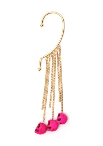 Voodoo Skulls Ear Cuff Gold Tone Metal Wrap Fringe Neon Pink Skeleton Chandelier Earring Fashion Jewelry