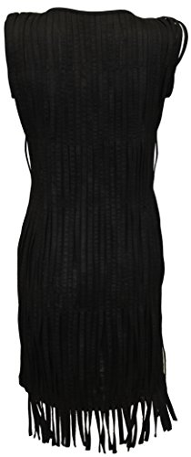 Attuendo Womens Suede Fringed Little Black Dress (Large (US Size:8))