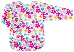 Kushies Taffeta Waterproof Bibs with Sleeves, White Flowers, 2-4