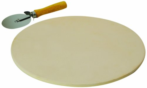 Ecolution Kitchen Extras Pizza Stone with Wooden Handle Cutter, 15-Inch