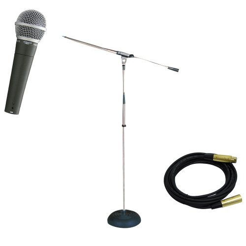 Pyle Mic And Stand Package - Pdmic58 Professional Moving Coil Dynamic Handheld Microphone - Pmks9 Heavy Duty Compact Base Boom Microphone Stand - Ppmcl15 15Ft. Symmetric Microphone Cable Xlr Female To Xlr Male