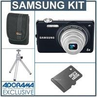 Samsung ST65 Digital Camera - Indigo Blue - Bundle - with 4GB Micro SD Memory Card, Camera Case, Table Top Tripod