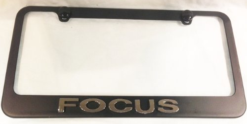 Focus License Plate Frame Black with 3D Chrome Emblem with 2 free caps (Ford Focus Black Emblem compare prices)