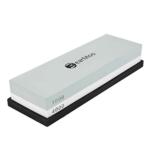 Whetstone, BearMoo 2-IN-1 Sharpening Stone 1000/4000 Grit - Waterstone - Knife Sharpening Stone, Rubber Stone Holder Included