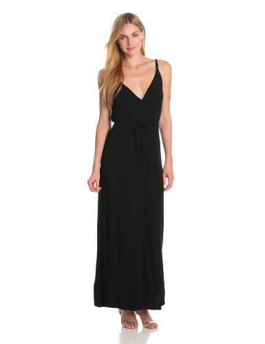 Bobi Women's Cross Front Rayon Maxi Dress, Black, Medium