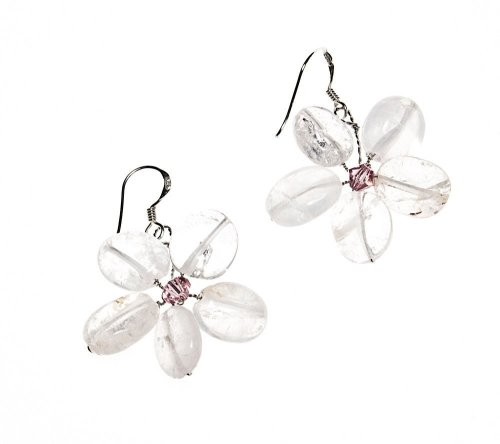 Oi! Rose Quartz Hand strung Flower Pink Crystal Centre Earrings with Sterling Silver Hook