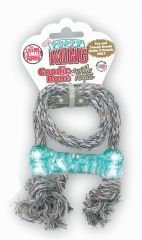 KONG Puppy Goodie Bone with Rope Dog Toy, Extra Small, Blue