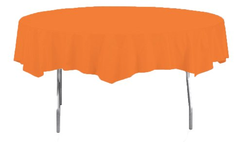 Creative Converting Octy-Round Plastic Table Cover, 82-Inch, Sunkissed Orange front-541941