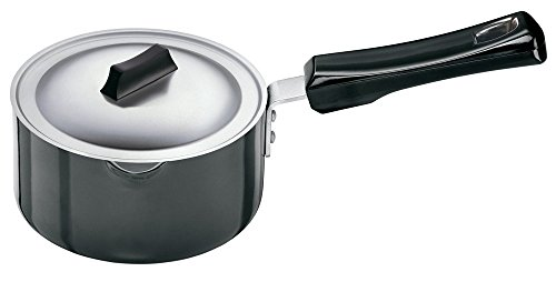 Futura L93 Hard Anodised Sauce Pan 1.0 Litre with Steel Lid and Pouring Spout, Gray, 1.05 Quart