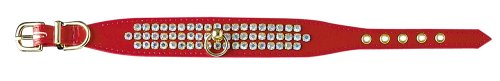 Pet Supply Imports Red Tahoe 1-Inch Vinyl Collar with 3 Rows of Rhinestones, 14-Inch