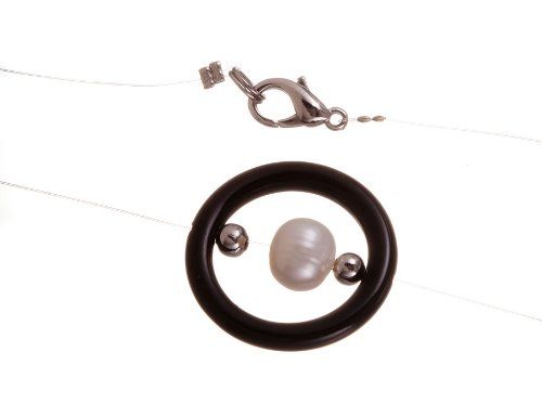 Black Onyx and White Pearl Yin Yang Necklace, 18