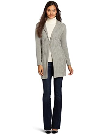 Magaschoni Women's 100% Cashmere Cable Cardigan Sweater, Moonlight Mouline, Small