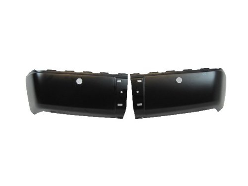 2007-2011 Chevy Silverado 1500 1500Hd 2500 2500Hd 3500/2007-2011 Gmc Sierra 1500 2500 3500 Rear Black Bumper Cap (Steel) With Sensor Holes Set=Lh & Rh front-305531