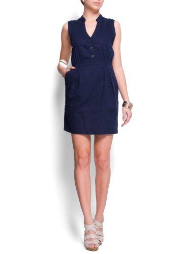 Mango Women's Relaxed-fit Sleeveless Dress, 6, Navy