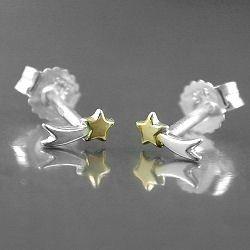 ASA - 925 Sterling Silver Boucles D'Oreilles Etoile Filante Bicolor 2 Couleurs