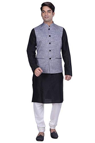 KISAH-Mens-Black-Cotton-Silk-kurta-and-Churidar-with-Grey-Linen-Nehru-Jacket