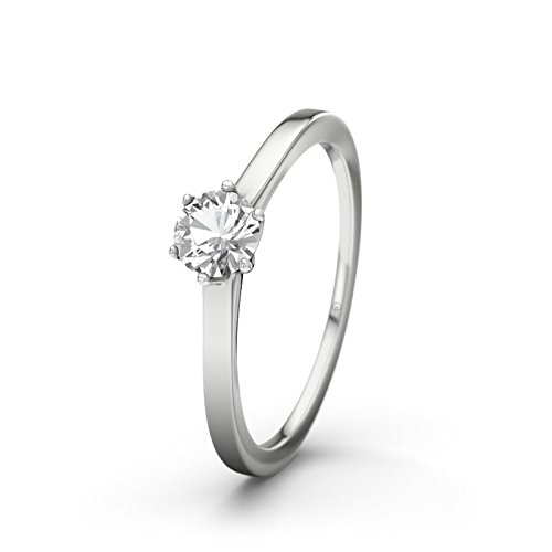 21DIAMONDS Women's Ring St Lucia White Topaz Diamond Engagement Ring - Silver Engagement Ring