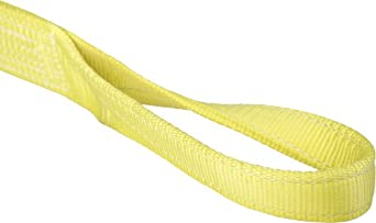 Mazzella EE1 Polyester Web Sling, Eye-and-Eye, Yellow, 1 Ply, Twist Eyes, Vertical Load Capacity