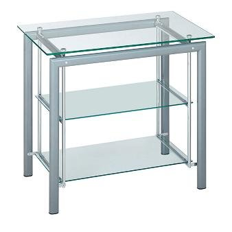 Alu-Chrome 3 Tier Glass Rectangular HiFi Media Storage Rack Cabinet Shelf Unit