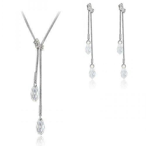 Clear Tear Crystal Earrings & Pendant Set (Made With Swarovski Element)