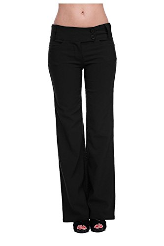 Chic Women's Solid Millennium Sleek Office Dress Pants(BTM-PNT,BLKA3