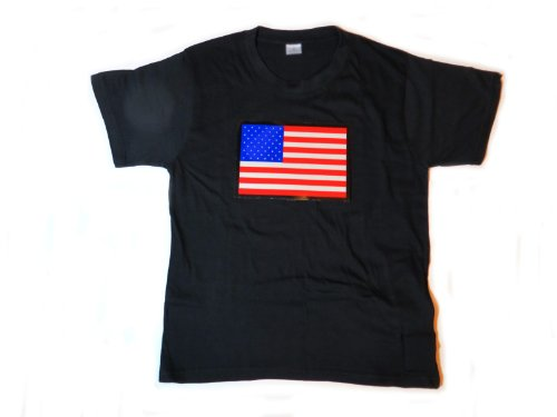 USA United States of America Flag LED Flashing Sound Activated Light Up Shirt (XL)
