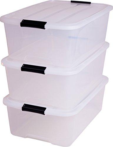 Iris-140065-Aufbewahrungsbox-set-von-3-Ordnungssystem-Stapelbare-mit-Handel-30-L-Kunststoffbox-mit-deckel-transparent
