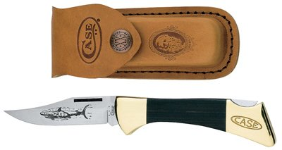 W R Case & Sons Cutlery 00169 Mako Lockback Pocket Knife, With Leather Sheath, Etched Stainless Steel/Black - Quantity 5