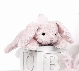 "Cottontail Pink Rabbit Rattle 8"" by Bearington"