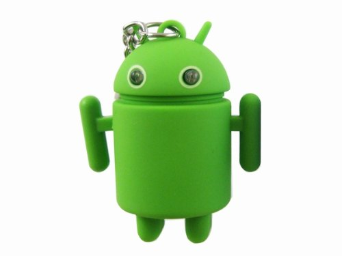 Novelty Cute Android Robot Shape Blue Led Light Keychain Keyring W/ Sound Green